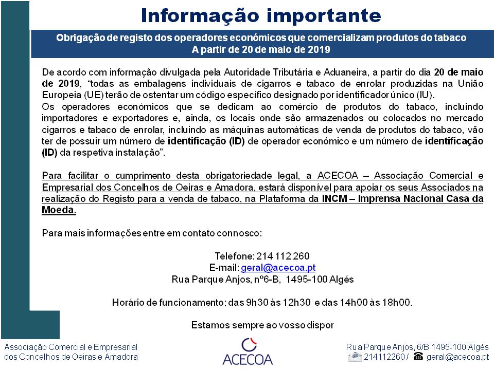 Obrigação de registo dos operadores económicos que comercializam produtos do tabaco - 20 de maio de 2019